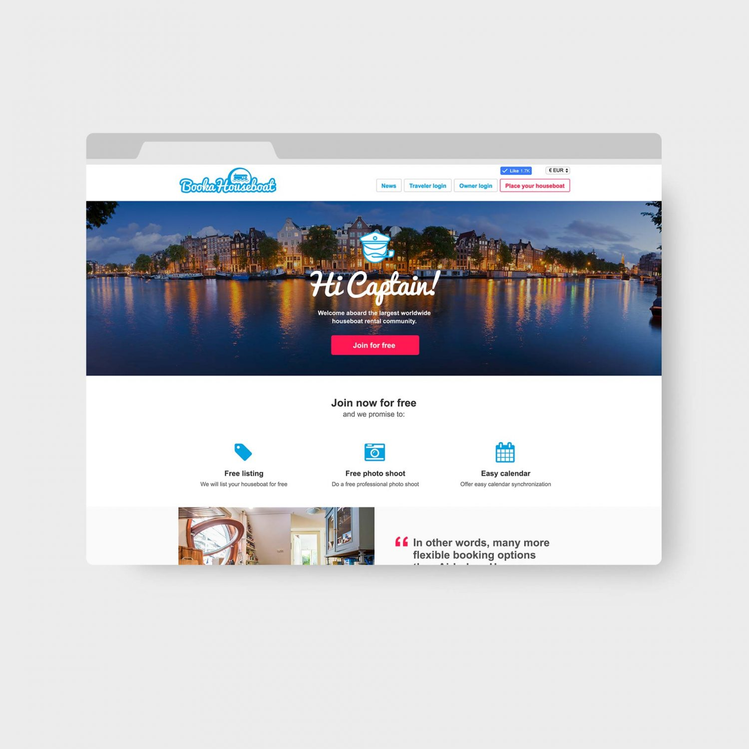 Book a Houseboat Amsterdam Webdesign